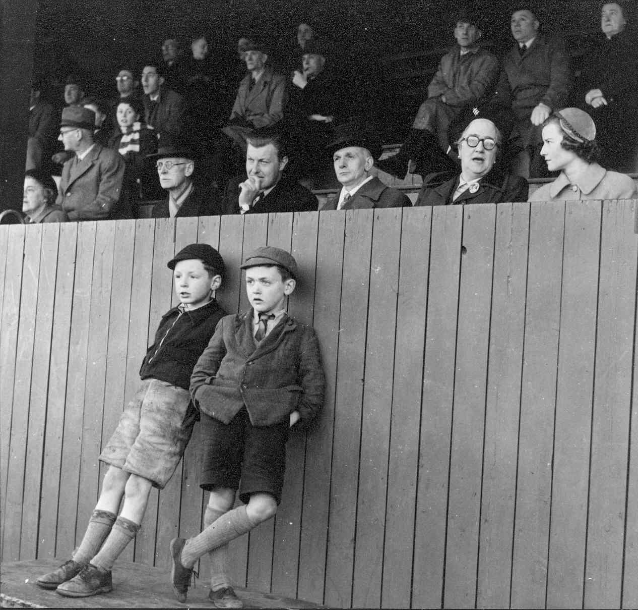 Spectators including Lord Derby & Councillor Rainford at Cables Football match, 1951