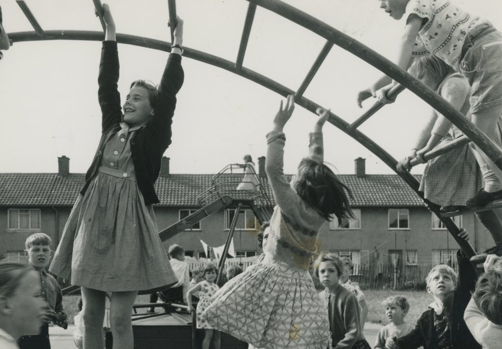 Children playing on a Kirkby housing estate